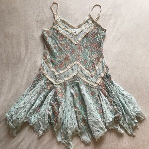 Free People Intimately Tattered Lacy Floral Slip